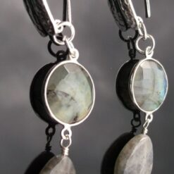 Labradorite and Sterling Silver Earrings.