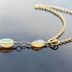 Opal Drop Gold Necklace