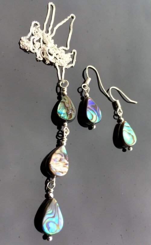 Abalone & Sterling Silver necklace and earrings.