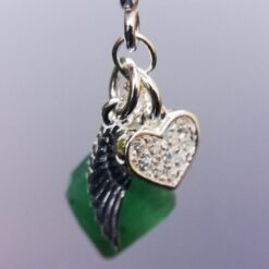 Emerald, heart and wing necklace