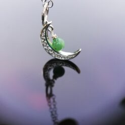 Silver moon and Emerald necklace