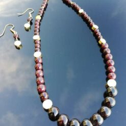 Garnet and Pyrite necklace & earring set