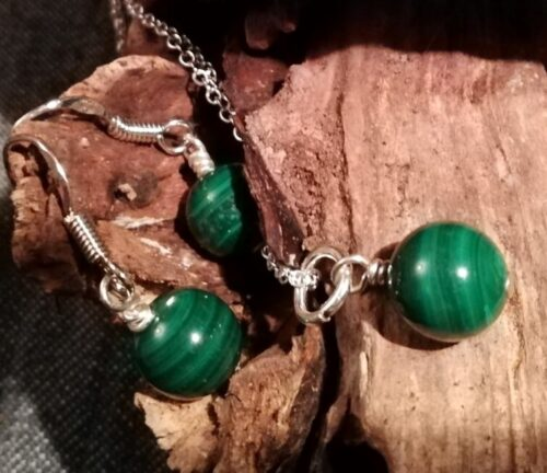 Malachite Sterling Silver Pendant And Earring Set