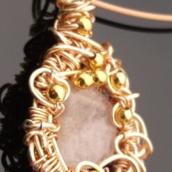 Morganite wire wrapped pendant