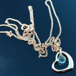 Curved heart & Aquamarine Necklace.