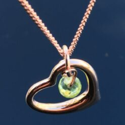 Curved Heart & Peridot Necklace