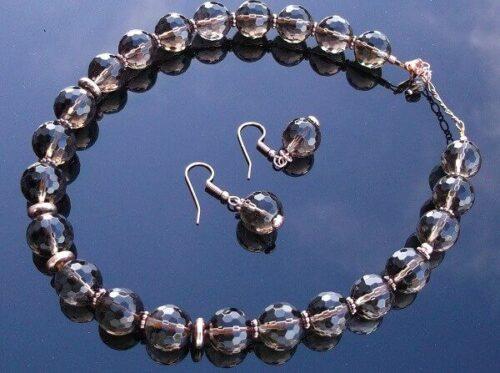 Smokey Quartz Necklace And Earring Set.