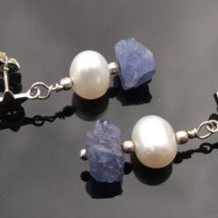 Tanzanite jewellery, earrings with Pearl