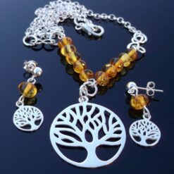 Amber & Tree of Life necklace set.