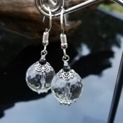 clear quartz black spinel earrings