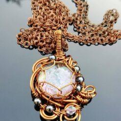 Goddess pale purple wire wrap pendant