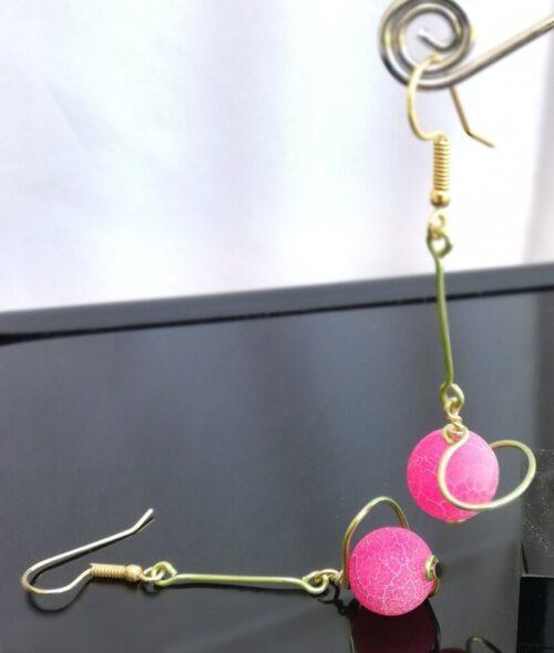 Hot pink crackled agate satellite earrings