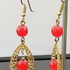 Gold Filigree and orange gemstone earrings