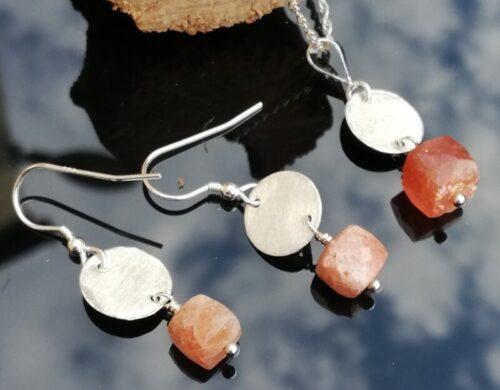 Handmade Sunstone Sterling Silver Earrings