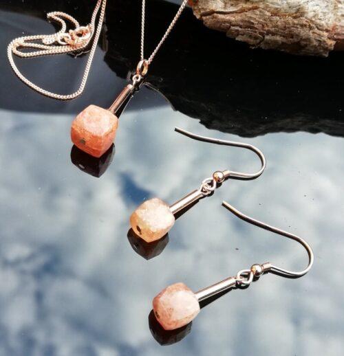 Sunstone Rose Gold Earrings