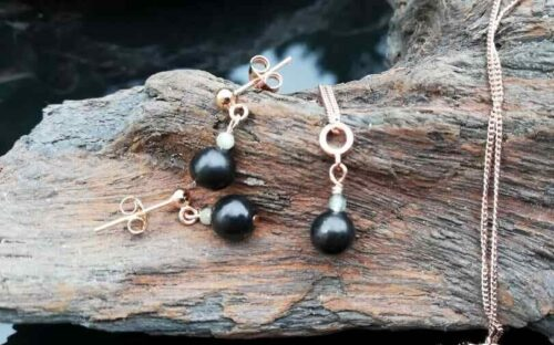 Shungite jewellery, jadeite & rose gold set