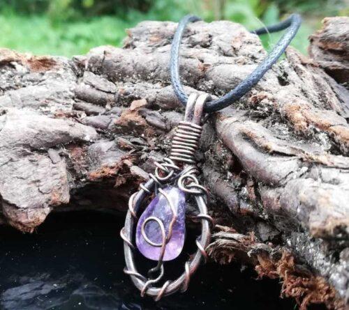 purple quartz copper pendant