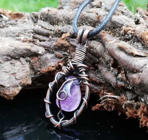 violet purple quartz pendant