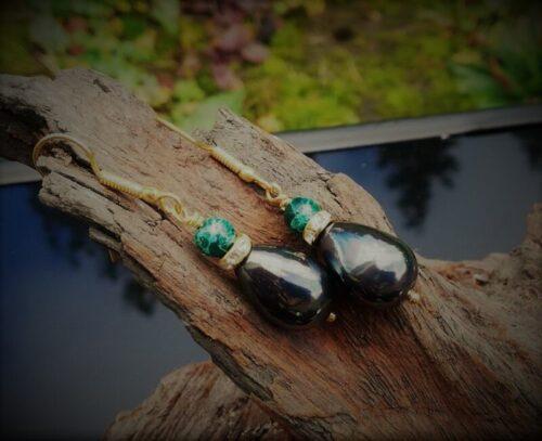 black shell pearl earrings green gemstone