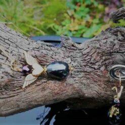 rock chic blac gold earrings