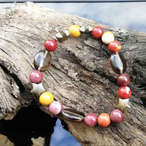 Mookite, smoky quartz pyrite bracelet