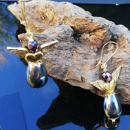 Rock Chic black pearl earrings