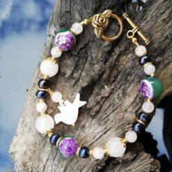 rose quartz, black pearl bracelet