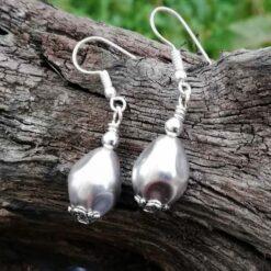 Silver shell pearl earrings