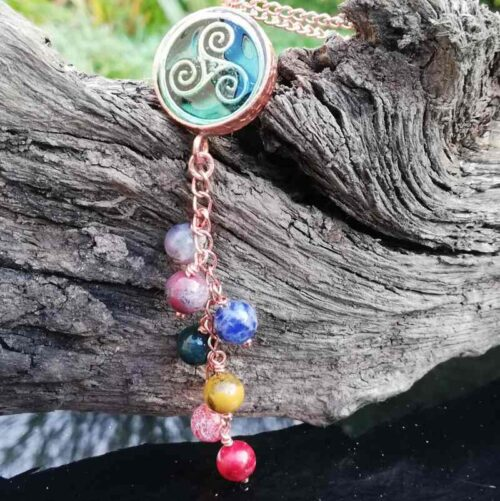 triskele chakra gemstone necklace