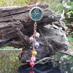 triskele, triple spiral chakra necklace