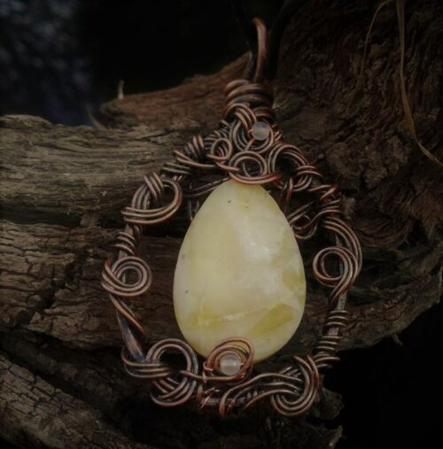 Yellow Opal wire wrapped pendant
