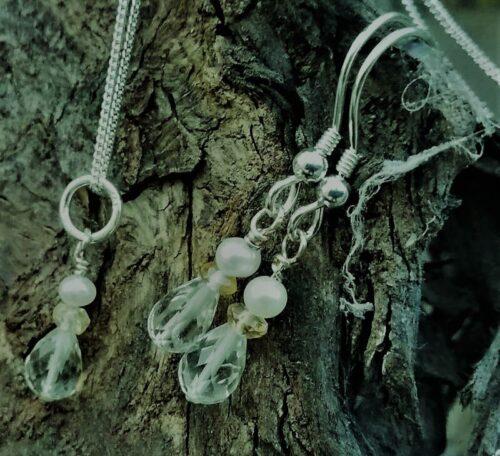Prasiolite,citrine,pearl jewellery set