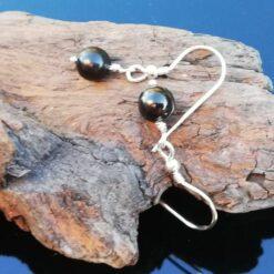 Shungite earrings, sterling silver