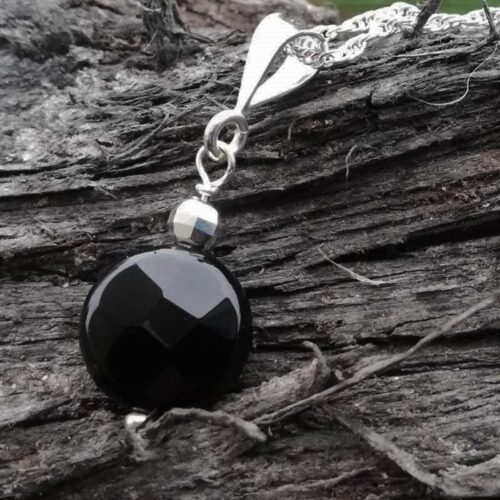 black pendant, agate, sterling silver necklace
