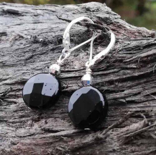 Black Agate earrings sterling silver