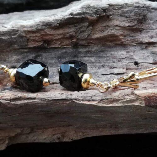 Black Spinel jewellery gold earrings