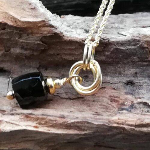 black spinel jewellery pendant drop necklace