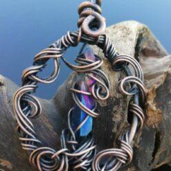 wire wrapped pendant, blue quartz
