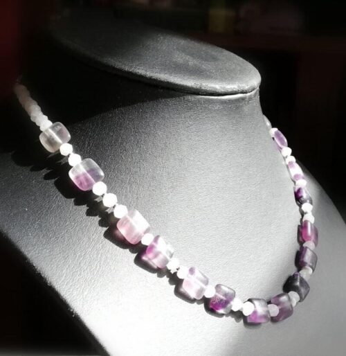 Fluorite sterling silver necklace with Moonstone
