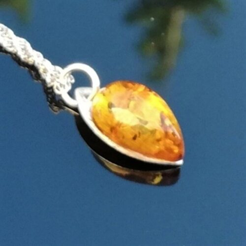 Amber pendant, sterling silver