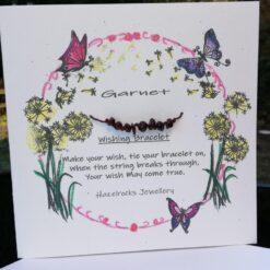 Garnet wish bracelet card
