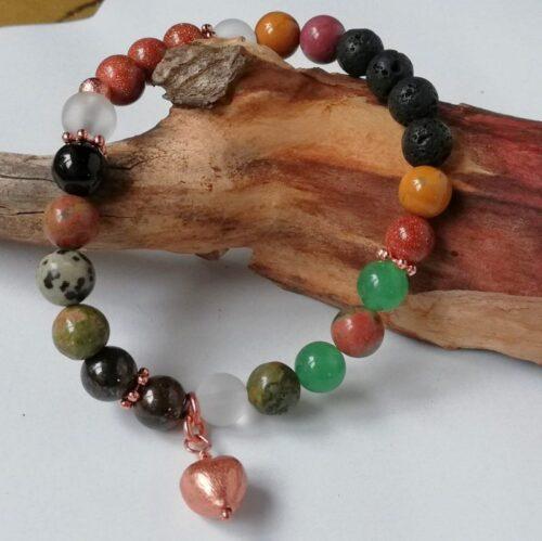 Essential Oil Diffuser Bracelet, greens, rose gold