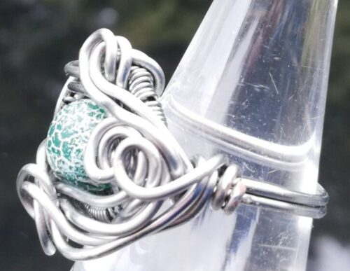 Green Dragon vein agate ring