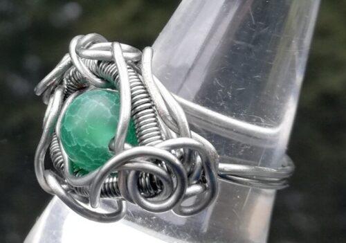 Dark green dragon eye wire ring