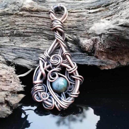 Ocean Jasper, wire wrapped pendant