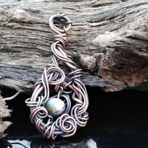 Ocean Jasper, wire woven pendant