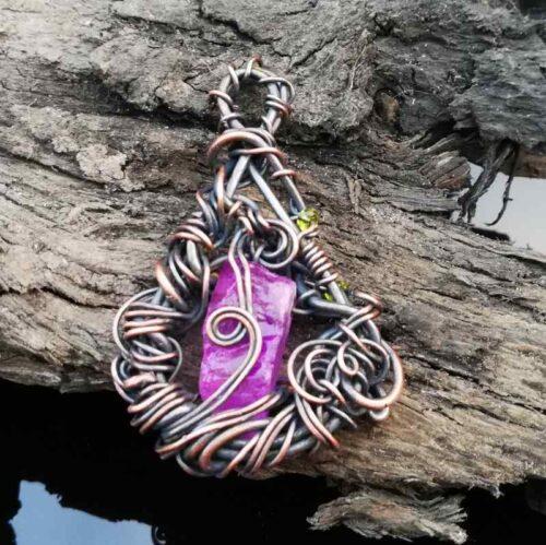 Pink Quartz wire wrapped Celtic pendant