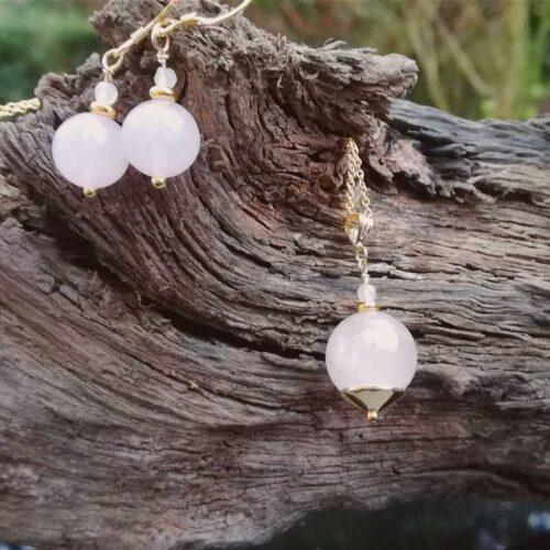 Rose Quartz Gold jewellery set