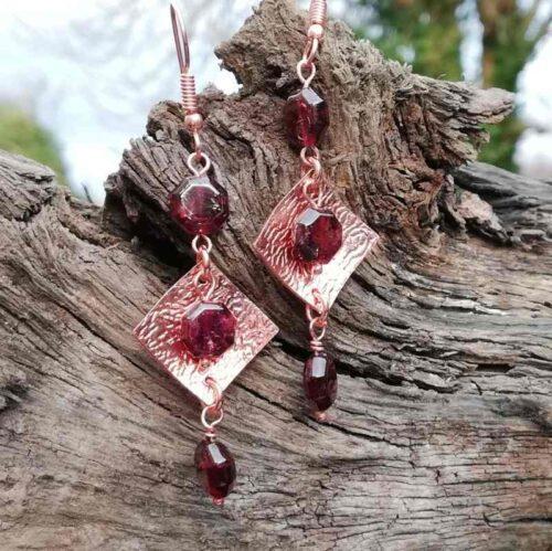 Garnet rose gold copper earrings