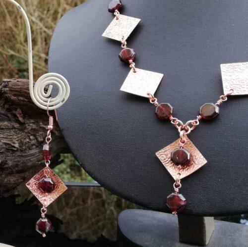 Garnet Rose gold copper necklace earring set